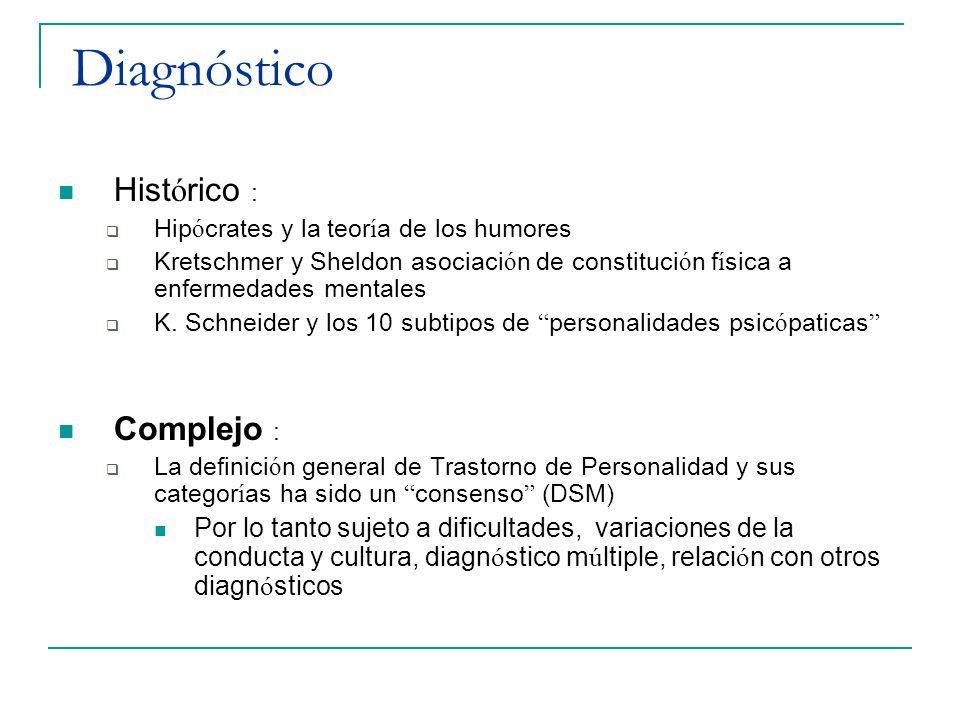 El Diagnóstico Es Cl í nico Contamos con : Cuestionarios : Dan puntuaciones estandarizadas para dimensiones psicom é tricas de la Personalidad (MMPI) Instrumentos de evaluaci ó n para los modelos cl í nico- biol ó gicos como el Temperament and Character Inventory (TCI) de Cloninger y cols Entrevistas estructuradas para el diagn ó stico categorial de los T de P, siguiendo los criterios DSM, SCID II
