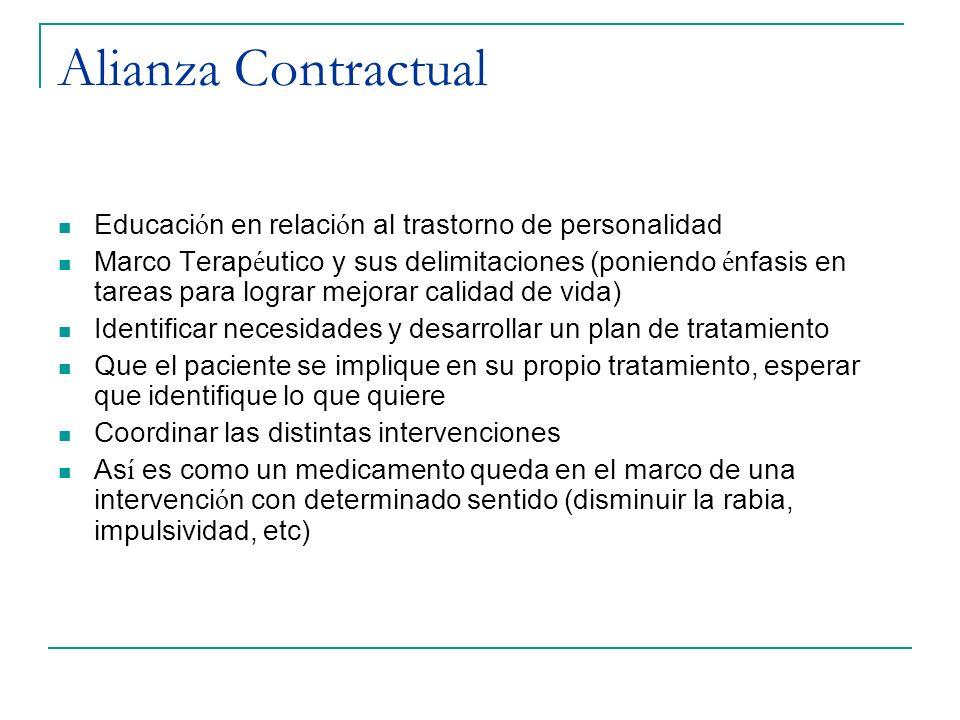 Alianza Contractual Educaci ó n en relaci ó n al trastorno de personalidad Marco Terap é utico y sus delimitaciones (poniendo é nfasis en tareas para