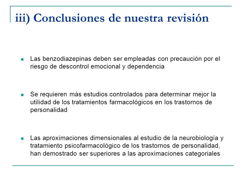 iii) Conclusiones de nuestra revisión Las benzodiazepinas deben ser empleadas con precaución por el riesgo de descontrol emocional y dependencia Se re