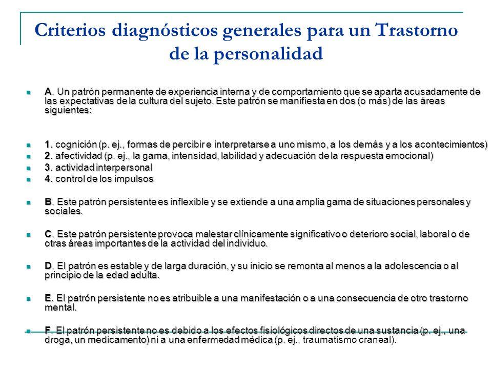 Criterios diagnósticos generales para un Trastorno de la personalidad A. Un patrón permanente de experiencia interna y de comportamiento que se aparta