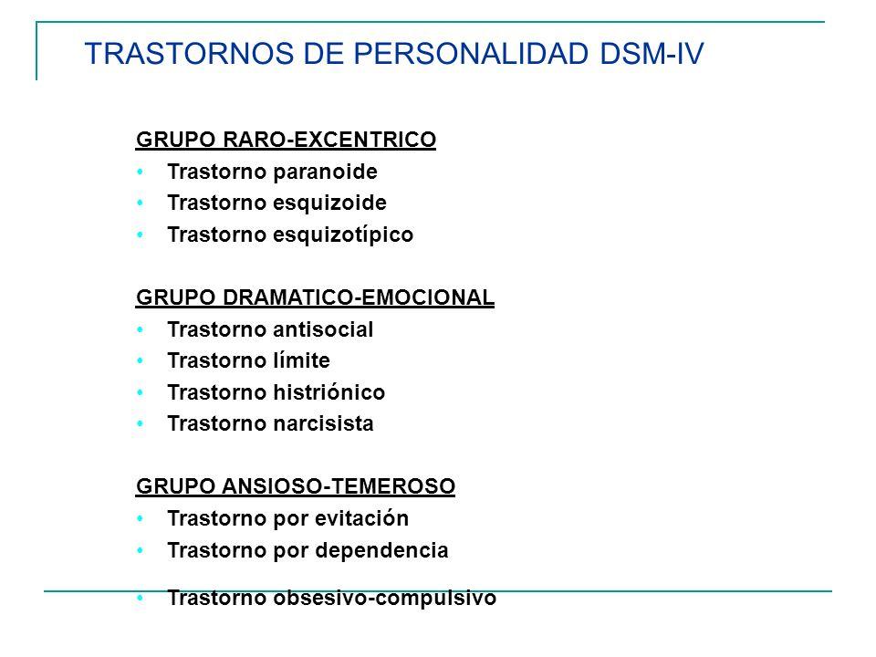TRASTORNOS DE PERSONALIDAD DSM-IV GRUPO RARO-EXCENTRICO Trastorno paranoide Trastorno esquizoide Trastorno esquizotípico GRUPO DRAMATICO-EMOCIONAL Tra