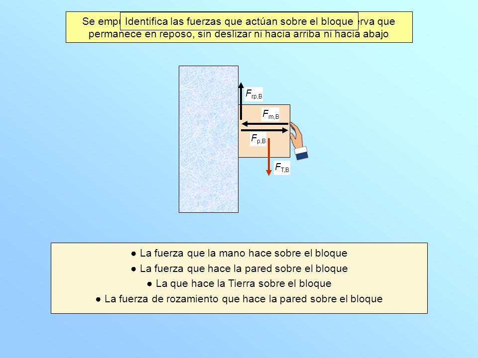 Se empuja a un bloque contra una pared vertical y se observa que permanece en reposo, sin deslizar ni hacia arriba ni hacia abajo Identifica las fuerz