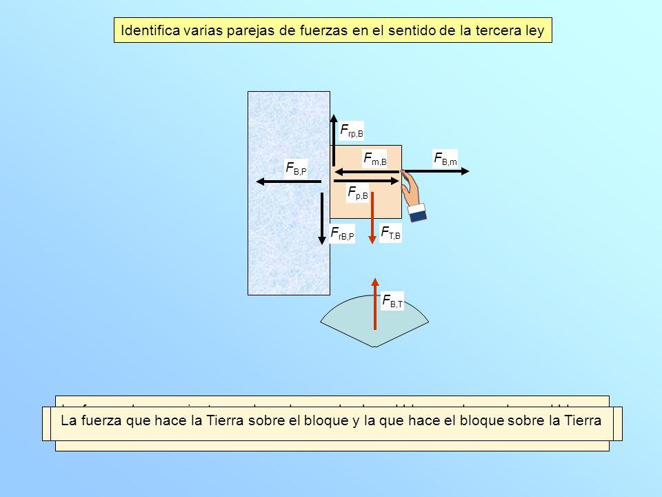 Identifica varias parejas de fuerzas en el sentido de la tercera ley La fuerza que la mano hace sobre el bloque y la que hace el bloque sobre la mano