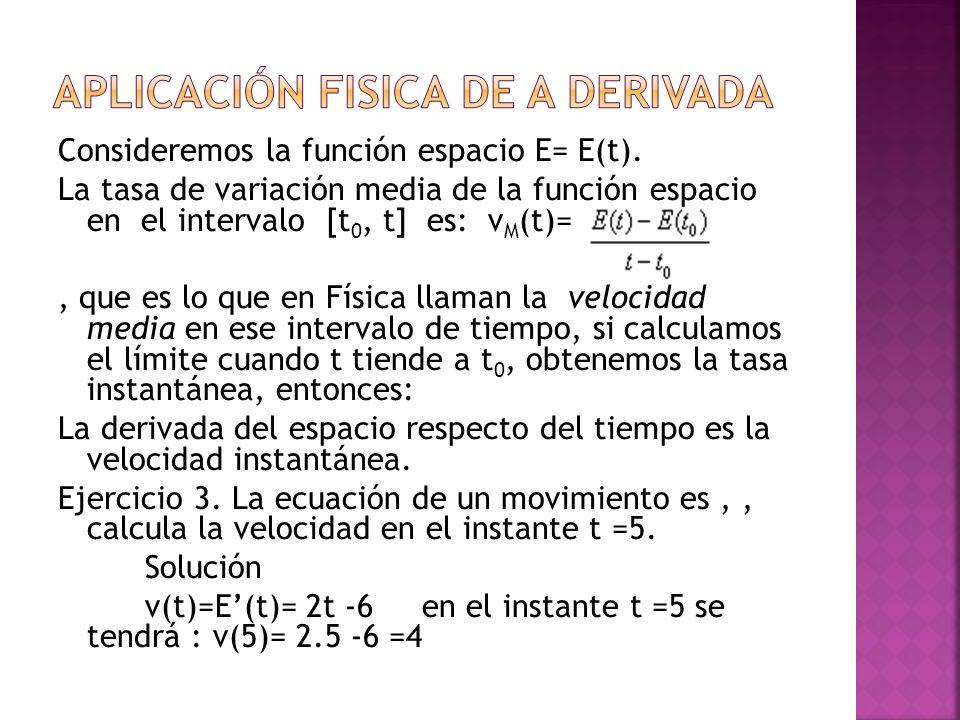Consideremos la función espacio E= E(t). La tasa de variación media de la función espacio en el intervalo [t 0, t] es: v M (t)=, que es lo que en Físi