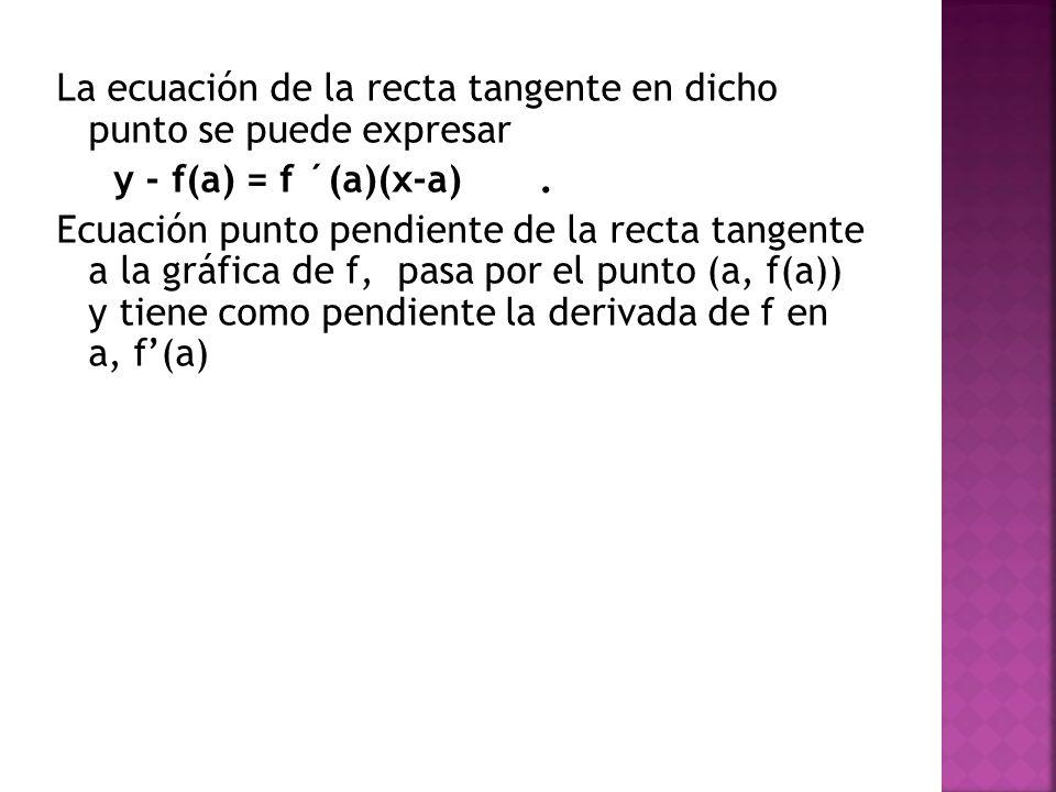 y - f(a) = f ´(a)(x-a). Ecuación punto pendiente de la recta tangente a la gráfica de f, pasa por el punto (a, f(a)) y tiene como pendiente la derivad