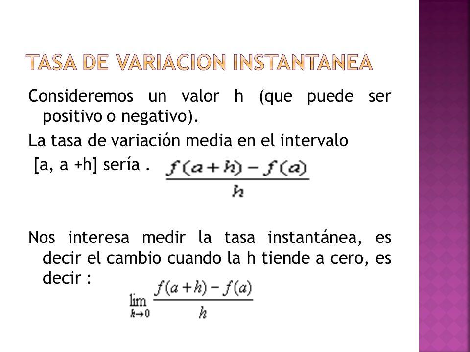 Consideremos un valor h (que puede ser positivo o negativo). La tasa de variación media en el intervalo [a, a +h] sería. Nos interesa medir la tasa in