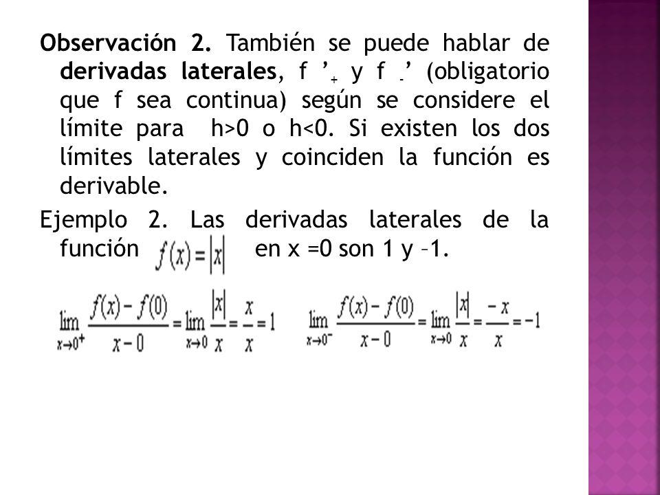 Observación 2. También se puede hablar de derivadas laterales, f + y f - (obligatorio que f sea continua) según se considere el límite para h>0 o h<0.