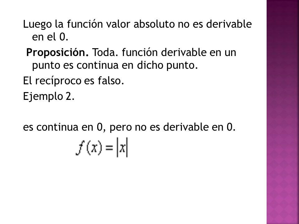 Luego la función valor absoluto no es derivable en el 0. Proposición. Toda. función derivable en un punto es continua en dicho punto. El recíproco es