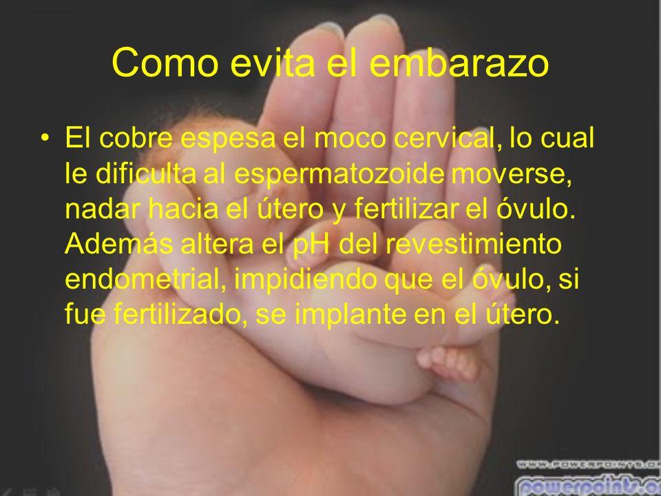 Como evita el embarazo El cobre espesa el moco cervical, lo cual le dificulta al espermatozoide moverse, nadar hacia el útero y fertilizar el óvulo. A