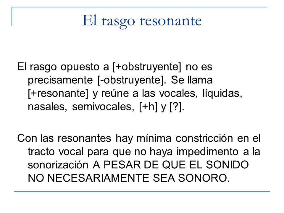 El rasgo opuesto a [+obstruyente] no es precisamente [-obstruyente]. Se llama [+resonante] y reúne a las vocales, líquidas, nasales, semivocales, [+h]