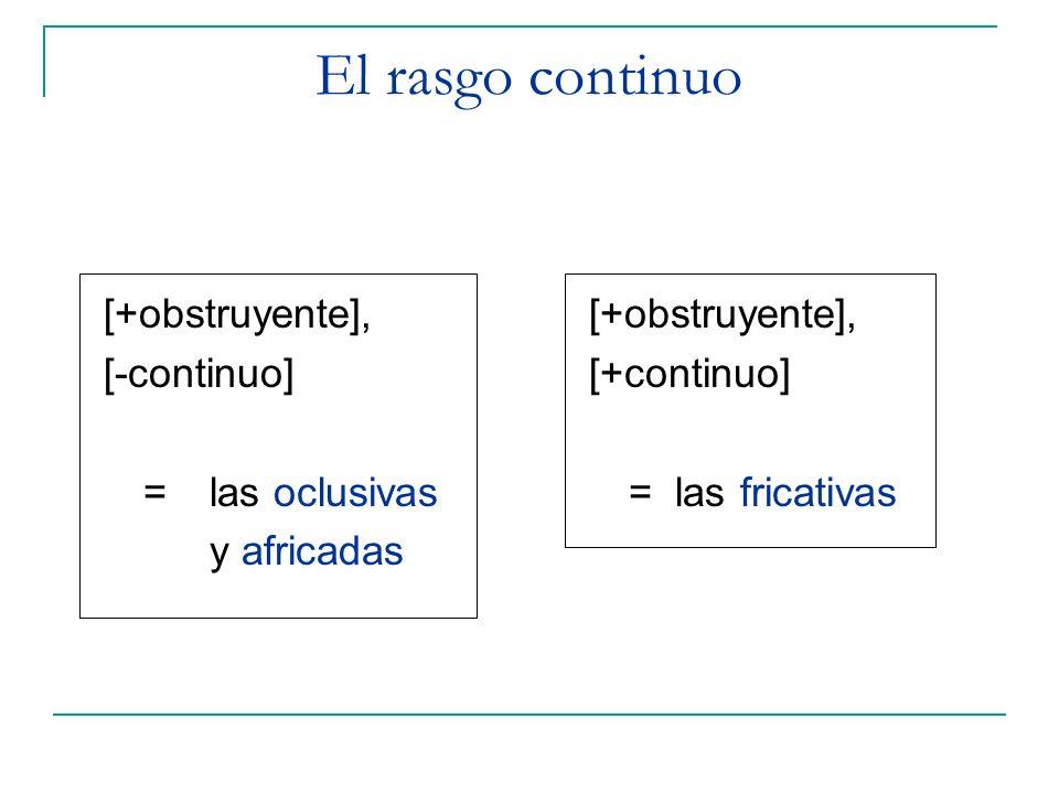 [+obstruyente], [-continuo] =las oclusivas y africadas [+obstruyente], [+continuo] = las fricativas El rasgo continuo