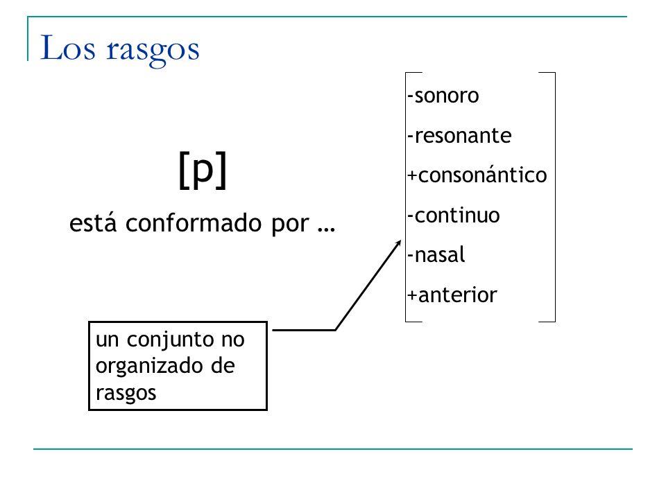 Los rasgos -sonoro -resonante +consonántico -continuo -nasal +anterior [p] está conformado por … un conjunto no organizado de rasgos