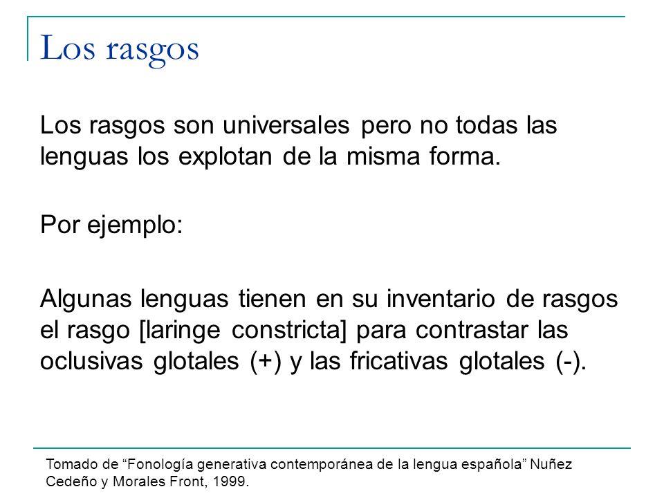 Los rasgos Los rasgos son universales pero no todas las lenguas los explotan de la misma forma. Por ejemplo: Algunas lenguas tienen en su inventario d