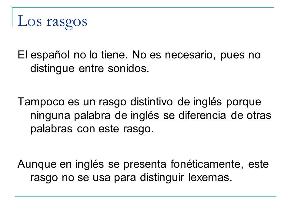 Los rasgos El español no lo tiene. No es necesario, pues no distingue entre sonidos. Tampoco es un rasgo distintivo de inglés porque ninguna palabra d