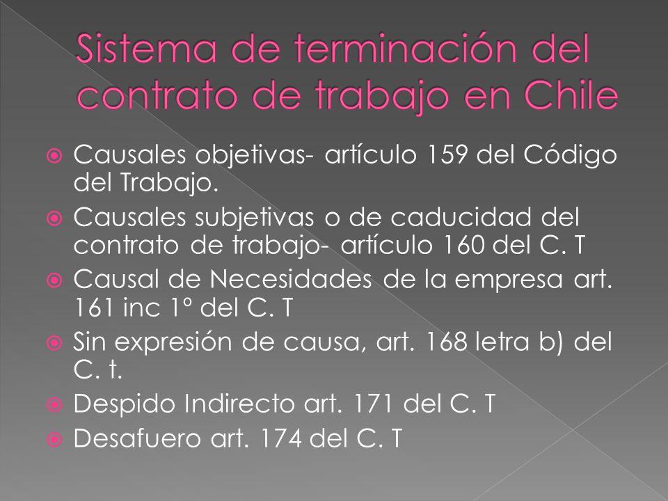 Causales objetivas- artículo 159 del Código del Trabajo. Causales subjetivas o de caducidad del contrato de trabajo- artículo 160 del C. T Causal de N