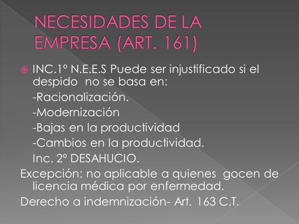 INC.1º N.E.E.S Puede ser injustificado si el despido no se basa en: -Racionalización. -Modernización -Bajas en la productividad -Cambios en la product