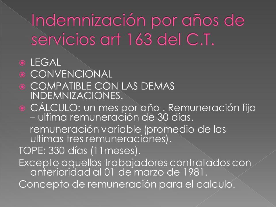 LEGAL CONVENCIONAL COMPATIBLE CON LAS DEMAS INDEMNIZACIONES. CÁLCULO: un mes por año. Remuneración fija – ultima remuneración de 30 días. remuneración