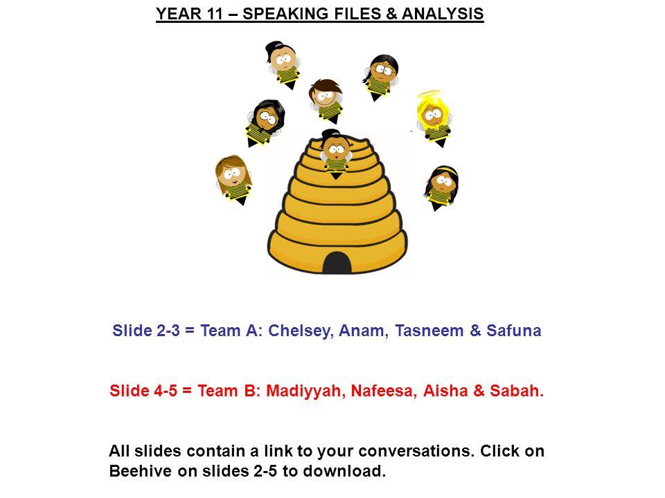 YEAR 11 – SPEAKING FILES & ANALYSIS Slide 2-3 = Team A: Chelsey, Anam, Tasneem & Safuna Slide 4-5 = Team B: Madiyyah, Nafeesa, Aisha & Sabah. All slid