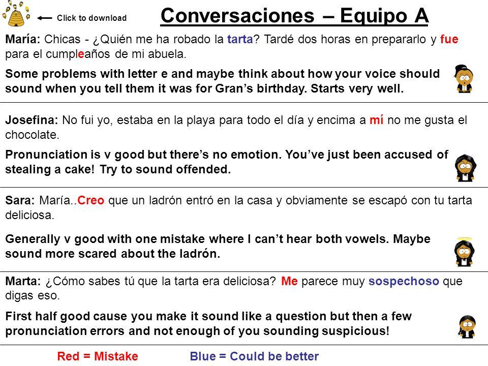 Conversaciones – Equipo A María: Chicas - ¿Quién me ha robado la tarta? Tardé dos horas en prepararlo y fue para el cumpleaños de mi abuela. Josefina: