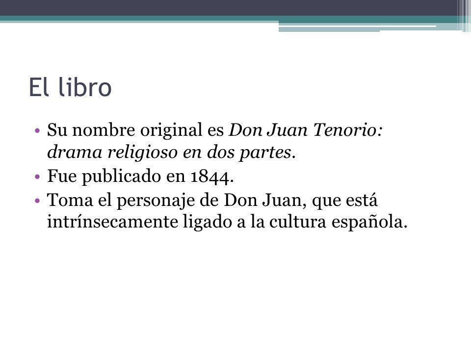 El libro Su nombre original es Don Juan Tenorio: drama religioso en dos partes. Fue publicado en 1844. Toma el personaje de Don Juan, que está intríns