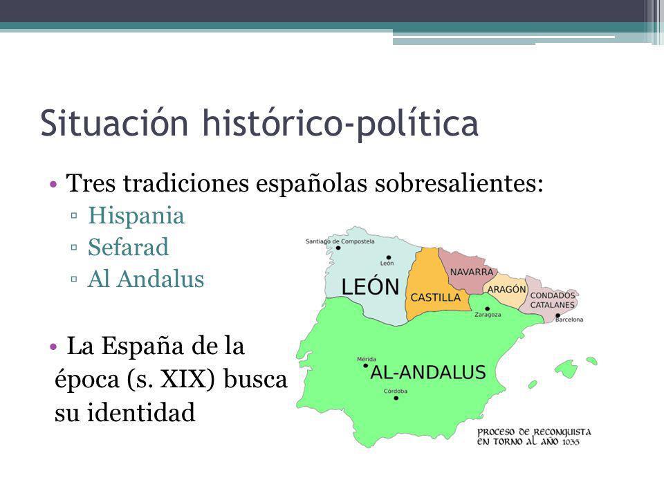Situación histórico-política Tres tradiciones españolas sobresalientes: Hispania Sefarad Al Andalus La España de la época (s. XIX) busca su identidad