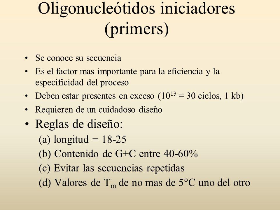 Oligonucleótidos iniciadores (primers) Se conoce su secuencia Es el factor mas importante para la eficiencia y la especificidad del proceso Deben esta