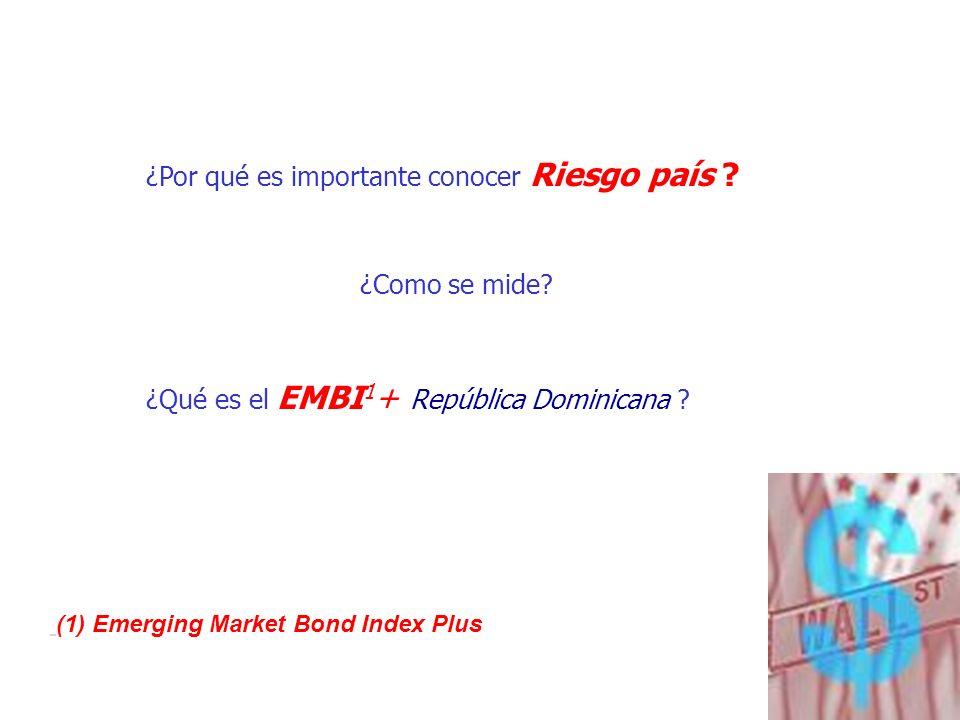 10 ¿Por qué es importante conocer Riesgo país ? ¿Como se mide? ¿Qué es el EMBI 1 + República Dominicana ? (1) Emerging Market Bond Index Plus