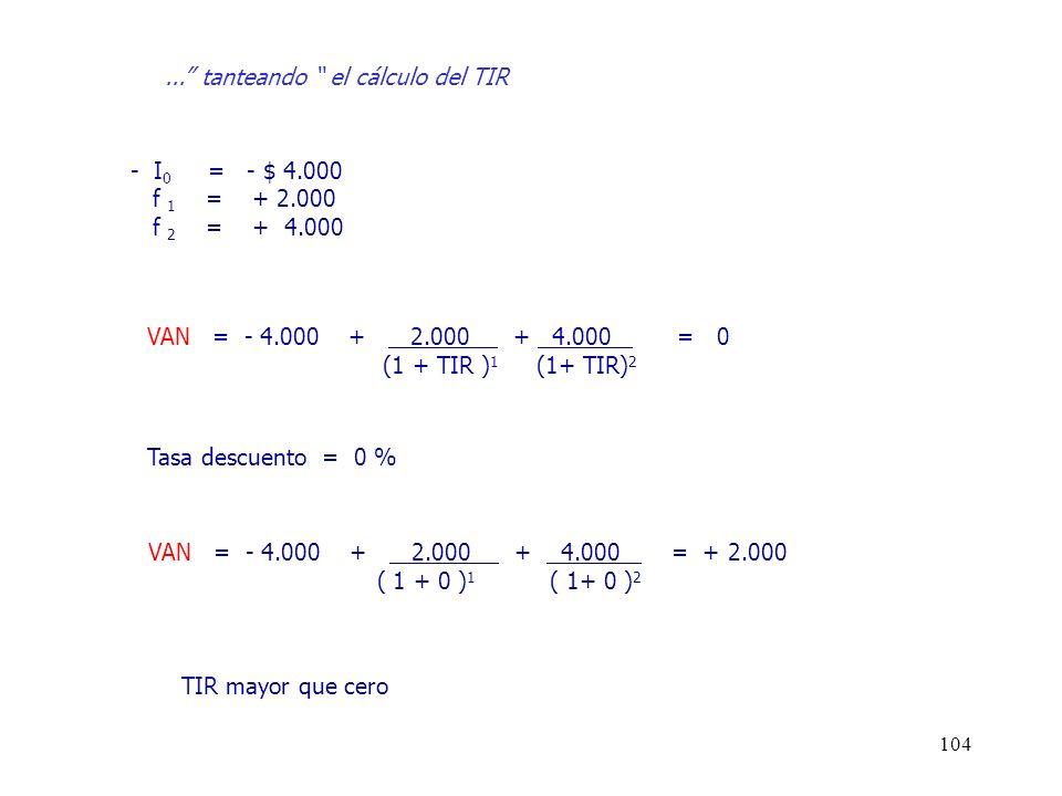 104 - I 0 = - $ 4.000 f 1 = + 2.000 f 2 = + 4.000 VAN = - 4.000 + 2.000 + 4.000 = 0 (1 + TIR ) 1 (1+ TIR) 2 VAN = - 4.000 + 2.000 + 4.000 = + 2.000 (