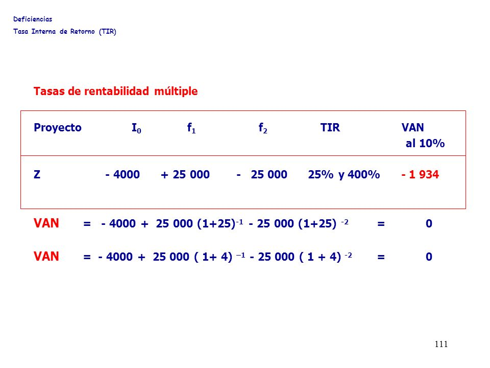 111 Proyecto I 0 f 1 f 2 TIR VAN al 10% Z - 4000 + 25 000 - 25 000 25% y 400% - 1 934 VAN = - 4000 + 25 000 (1+25) -1 - 25 000 (1+25) -2 =0 VAN = - 40