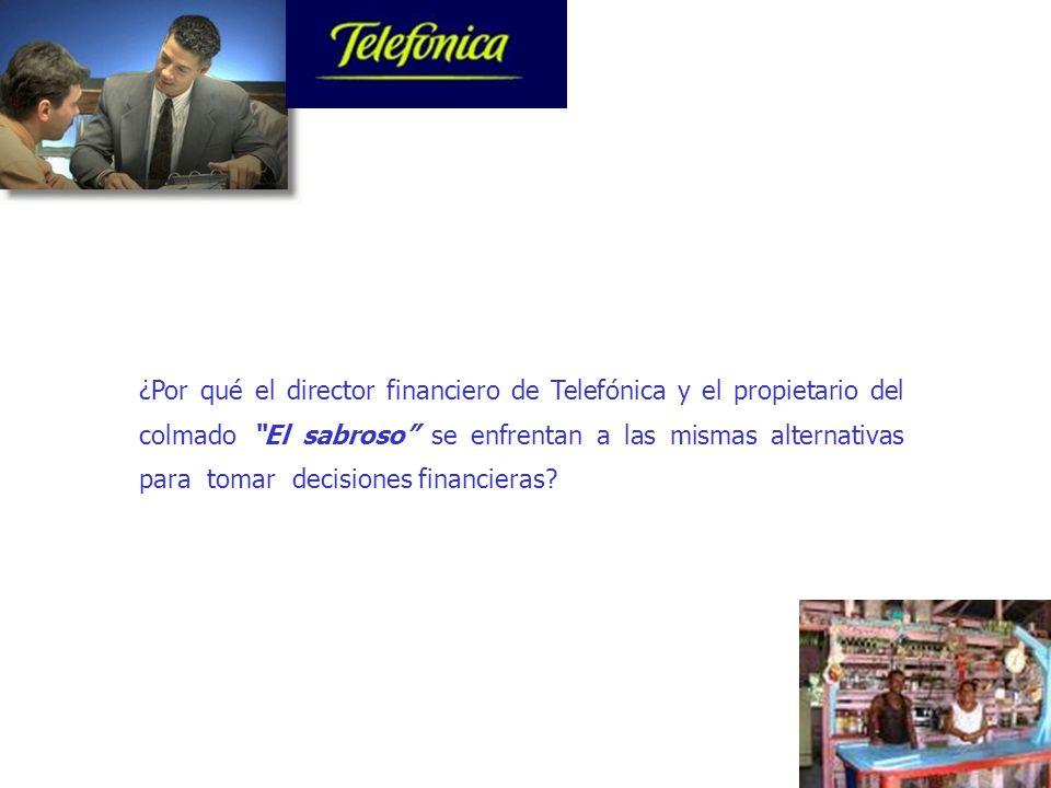 16 ¿Por qué el director financiero de Telefónica y el propietario del colmado El sabroso se enfrentan a las mismas alternativas para tomar decisiones