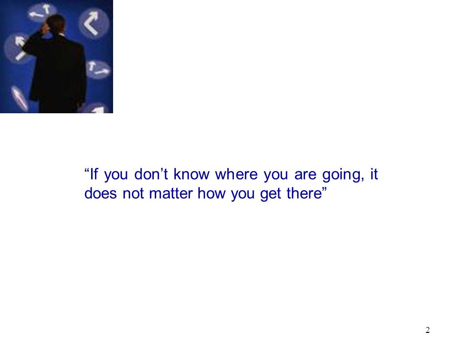 2 If you dont know where you are going, it does not matter how you get there