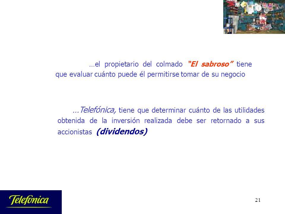 21 …Telefónica, tiene que determinar cuánto de las utilidades obtenida de la inversión realizada debe ser retornado a sus accionistas (dividendos) …el