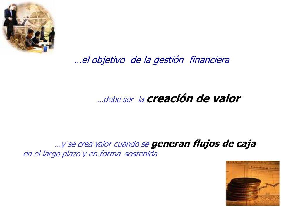 24 …el objetivo de la gestión financiera …debe ser la creación de valor …y se crea valor cuando se generan flujos de caja en el largo plazo y en forma