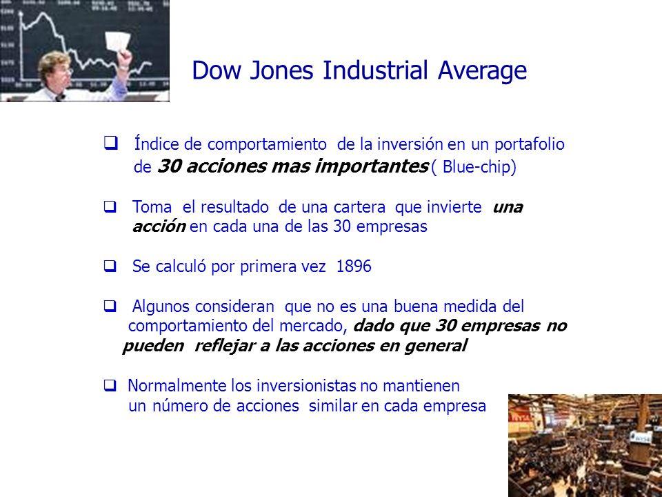 40 Dow Jones Industrial Average Índice de comportamiento de la inversión en un portafolio de 30 acciones mas importantes ( Blue-chip) Toma el resultad