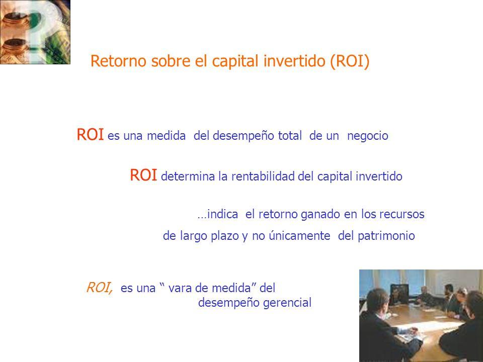 46 ROI, es una vara de medida del desempeño gerencial Retorno sobre el capital invertido (ROI) ROI es una medida del desempeño total de un negocio ROI