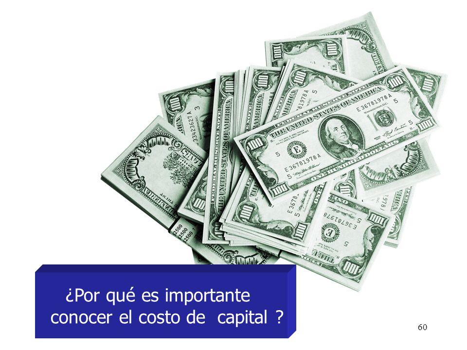 60 ¿Por qué es importante conocer el costo de capital ?