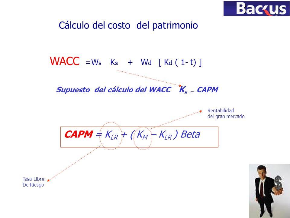 72 Cálculo del costo del patrimonio Supuesto del cálculo del WACC K s = CAPM CAPM = K LR + ( K M – K LR ) Beta Tasa Libre De Riesgo Rentabilidad del g