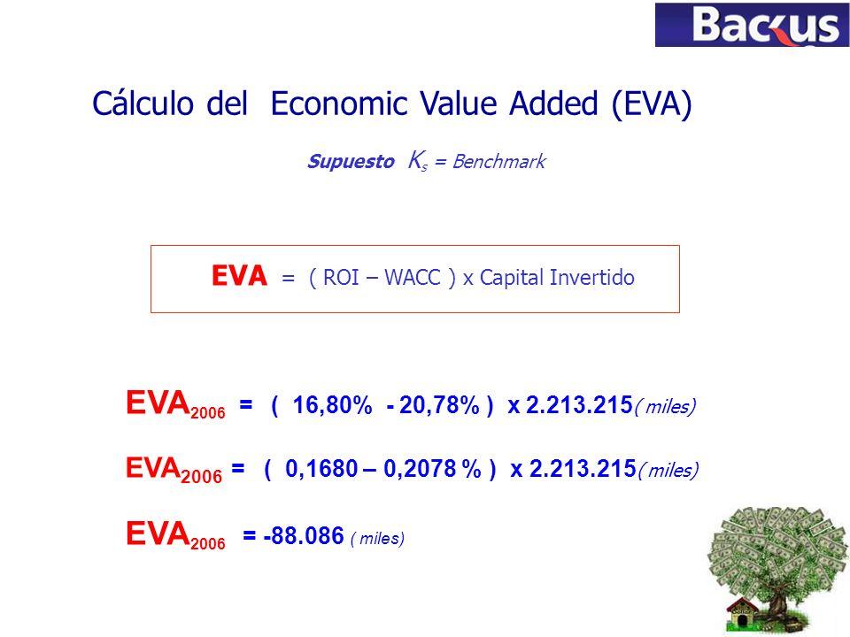 78 EVA = ( ROI – WACC ) x Capital Invertido Cálculo del Economic Value Added (EVA) Supuesto K s = Benchmark EVA 2006 = ( 16,80% - 20,78% ) x 2.213.215