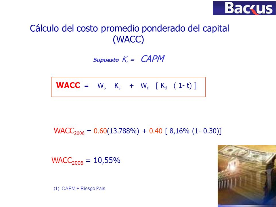 79 Cálculo del costo promedio ponderado del capital (WACC) WACC = W s K s + W d [ K d ( 1- t) ] Supuesto K s = CAPM (1) CAPM + Riesgo País WACC 2006 =