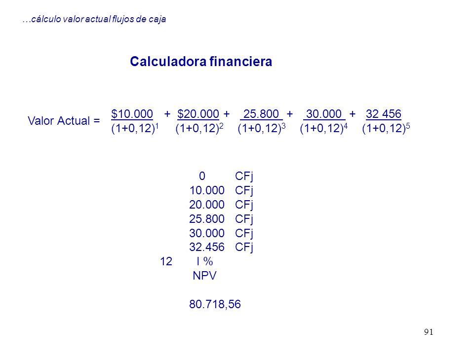 91 …cálculo valor actual flujos de caja $10.000 + $20.000 + 25.800 + 30.000 + 32 456 (1+0,12) 1 (1+0,12) 2 (1+0,12) 3 (1+0,12) 4 (1+0,12) 5 Valor Actu