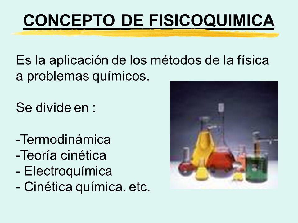 CONCEPTO DE FISICOQUIMICA Es la aplicación de los métodos de la física a problemas químicos. Se divide en : -Termodinámica -Teoría cinética - Electroq