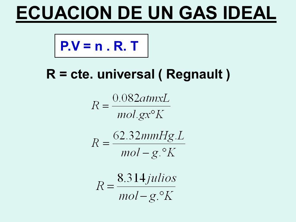 ECUACION DE UN GAS IDEAL P.V = n. R. T R = cte. universal ( Regnault )