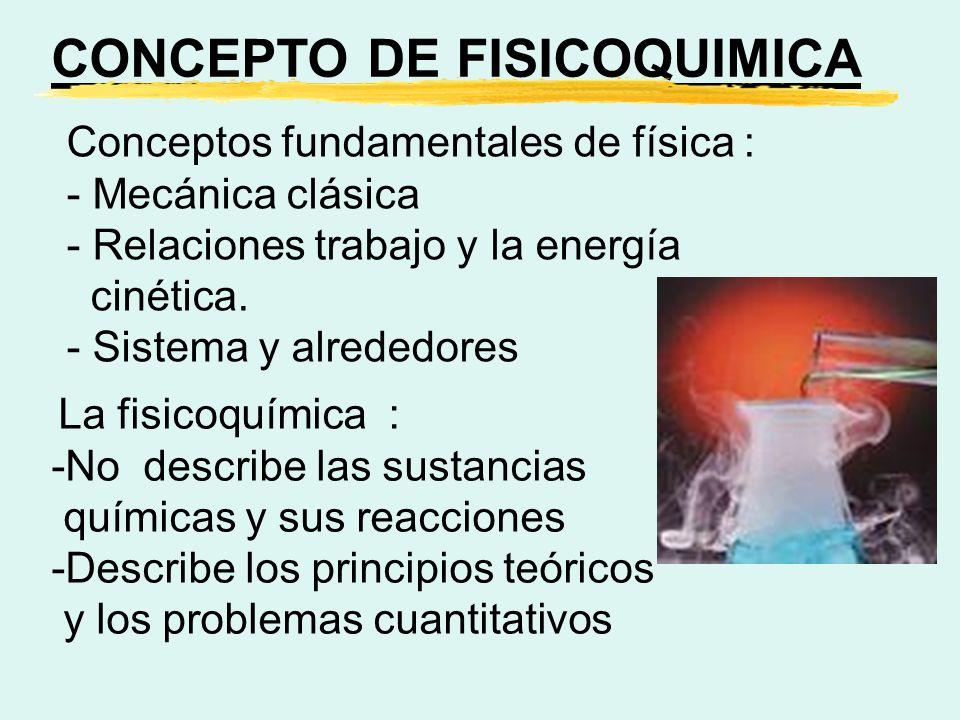 La fisicoquímica : -No describe las sustancias químicas y sus reacciones -Describe los principios teóricos y los problemas cuantitativos Conceptos fun
