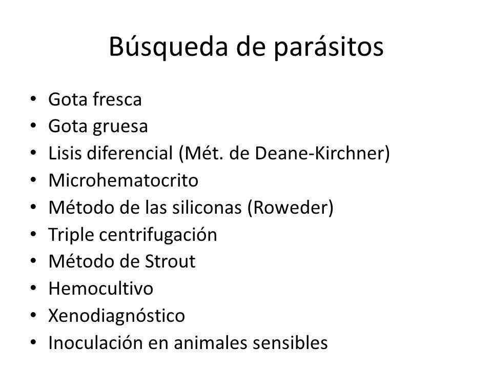 Búsqueda de parásitos Gota fresca Gota gruesa Lisis diferencial (Mét. de Deane-Kirchner) Microhematocrito Método de las siliconas (Roweder) Triple cen