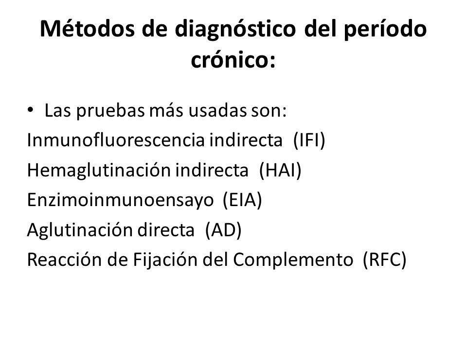 Métodos de diagnóstico del período crónico: Las pruebas más usadas son: Inmunofluorescencia indirecta (IFI) Hemaglutinación indirecta (HAI) Enzimoinmu