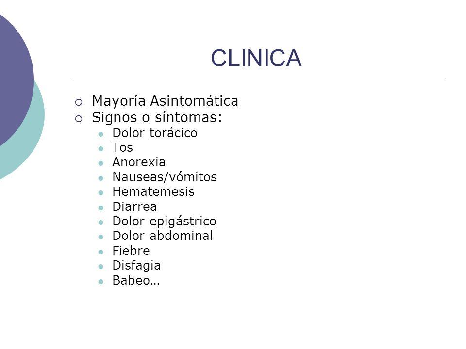 CLINICA Mayoría Asintomática Signos o síntomas: Dolor torácico Tos Anorexia Nauseas/vómitos Hematemesis Diarrea Dolor epigástrico Dolor abdominal Fieb