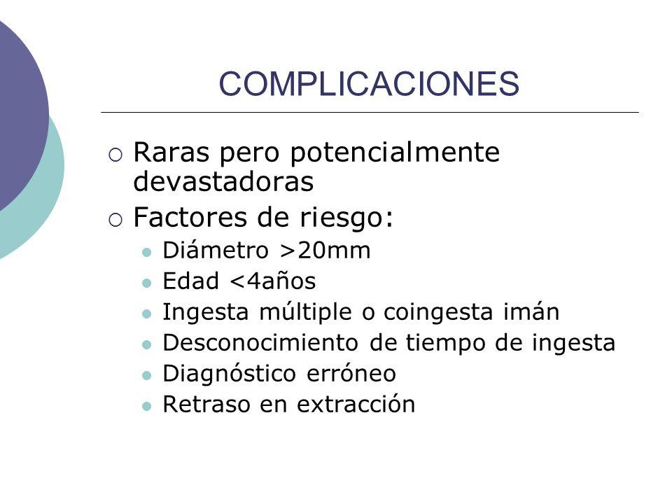 COMPLICACIONES Raras pero potencialmente devastadoras Factores de riesgo: Diámetro >20mm Edad <4años Ingesta múltiple o coingesta imán Desconocimiento