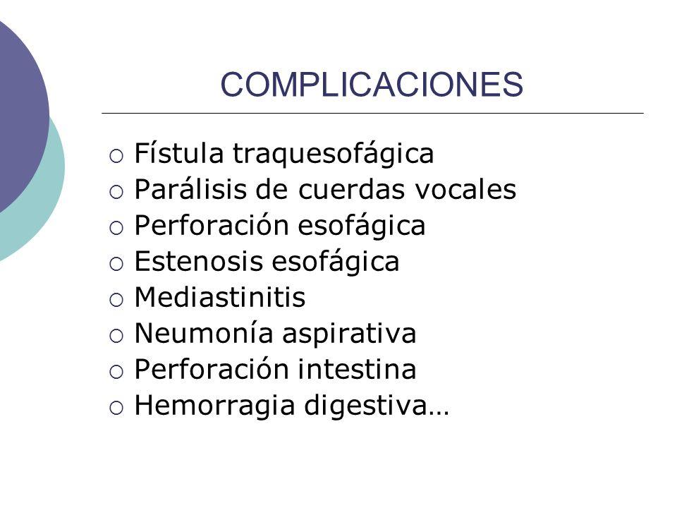 COMPLICACIONES Fístula traquesofágica Parálisis de cuerdas vocales Perforación esofágica Estenosis esofágica Mediastinitis Neumonía aspirativa Perfora