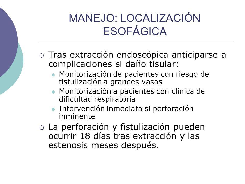 MANEJO: LOCALIZACIÓN ESOFÁGICA Tras extracción endoscópica anticiparse a complicaciones si daño tisular: Monitorización de pacientes con riesgo de fis