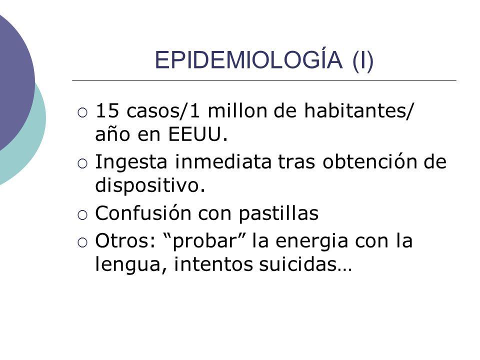 EPIDEMIOLOGÍA (I) 15 casos/1 millon de habitantes/ año en EEUU. Ingesta inmediata tras obtención de dispositivo. Confusión con pastillas Otros: probar